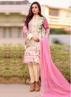 Cream and Pink Cotton Lawn Pant Style Designer Salwar Suit