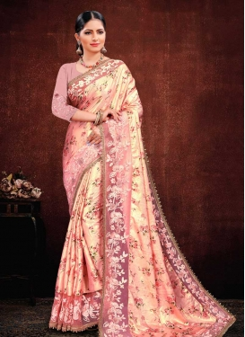 Cream and Pink Embroidered Work Designer Traditional Saree