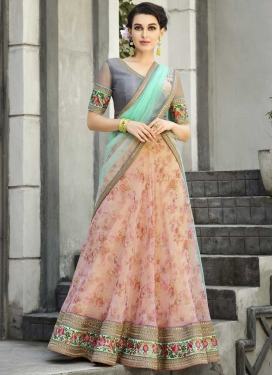 Cream and Pink Organza A - Line Lehenga