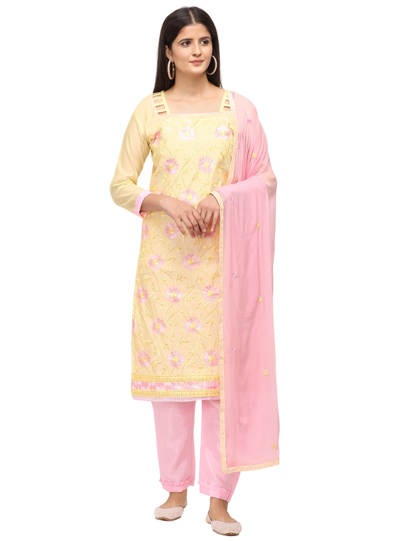 Cream and Pink Pant Style Salwar Suit For Casual