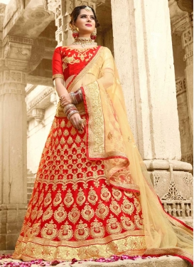 Cream and Red A Line Lehenga Choli