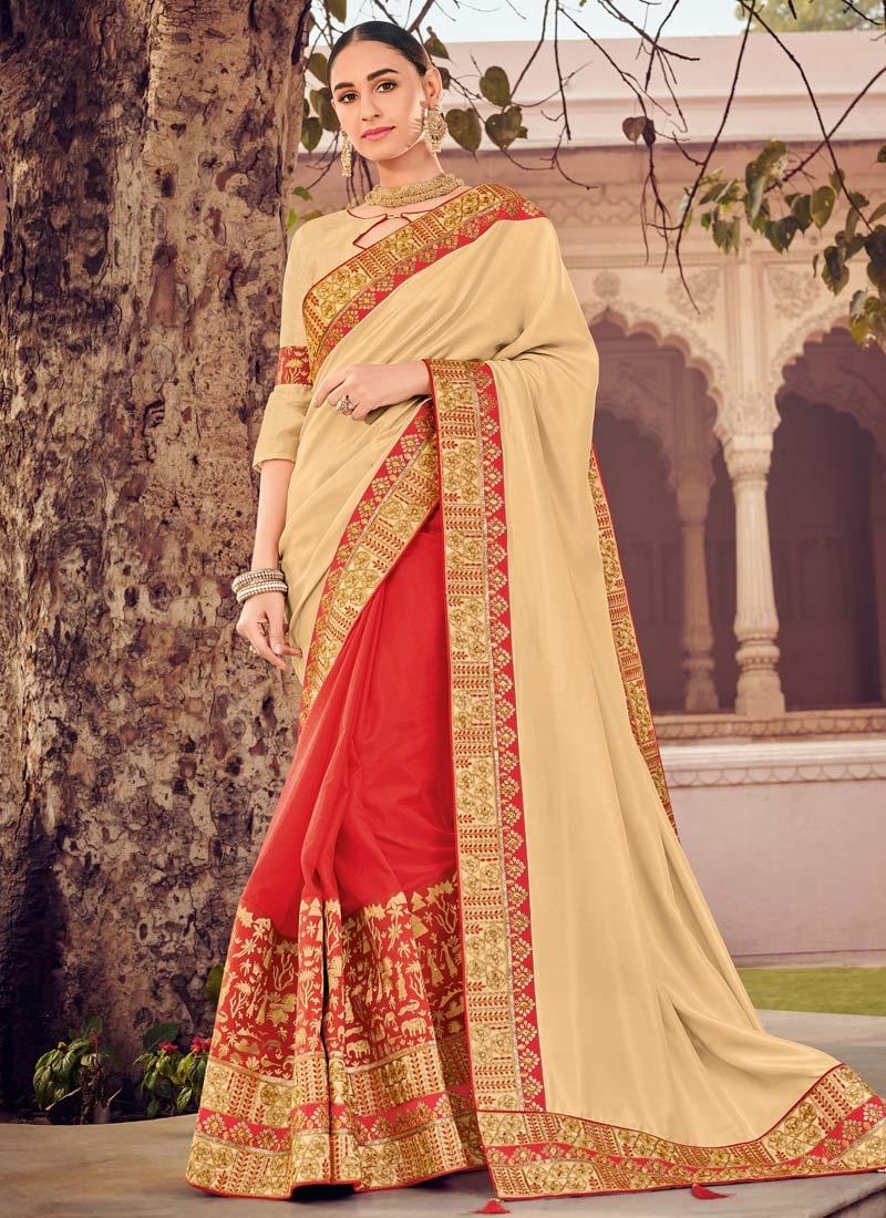 Cream and Red Art Silk Half N Half Trendy Saree