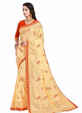Cream and Red Art Silk Trendy Saree For Festival