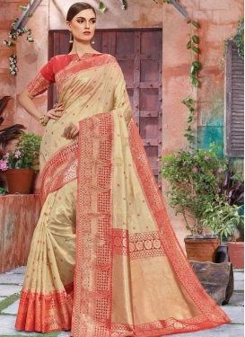 Cream and Red Banarasi Silk Designer Contemporary Saree For Ceremonial