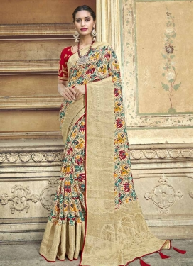Cream and Red Beads Work Designer Traditional Saree