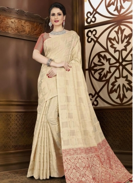 Cream and Red Chanderi Silk Contemporary Style Saree