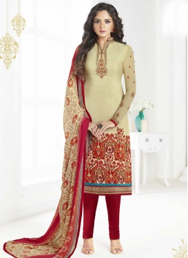 Cream and Red Churidar Salwar Kameez For Ceremonial