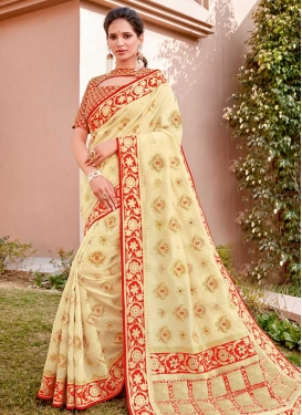 Cream and Red Cord Work Trendy Classic Saree