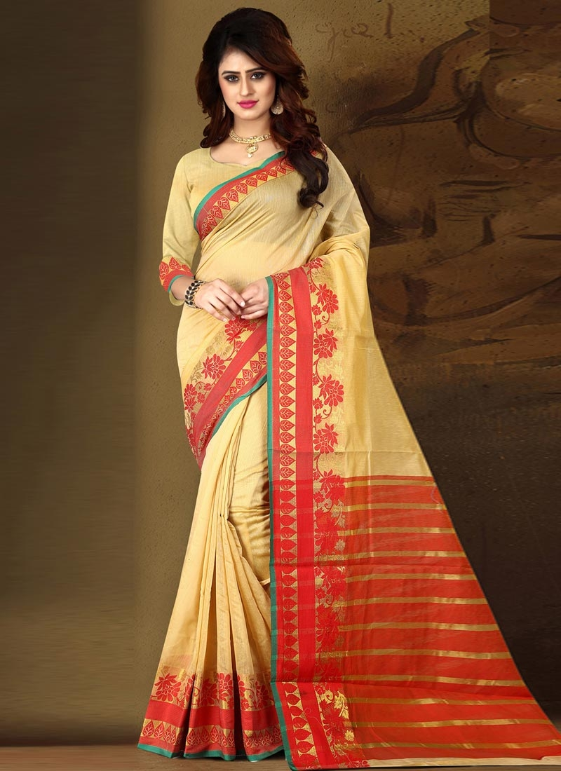 Cream and Red Cotton Silk Designer Contemporary Style Saree