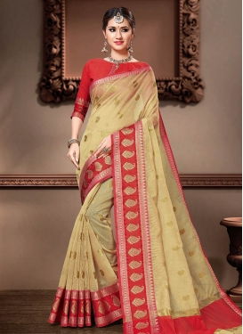Cream and Red Cotton Silk Designer Contemporary Style Saree