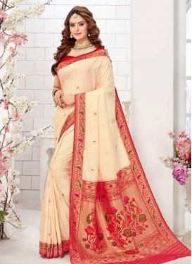 Cream and Red Designer Contemporary Saree