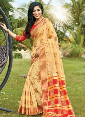 Cream and Red Designer Contemporary Style Saree For Ceremonial
