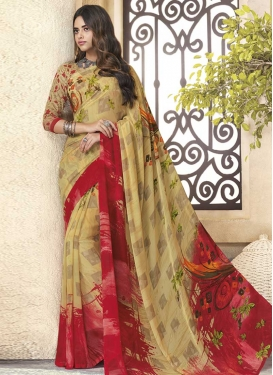 Cream and Red Digital Print Work Contemporary Style Saree