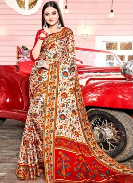 Cream and Red Digital Print Work Traditional Saree
