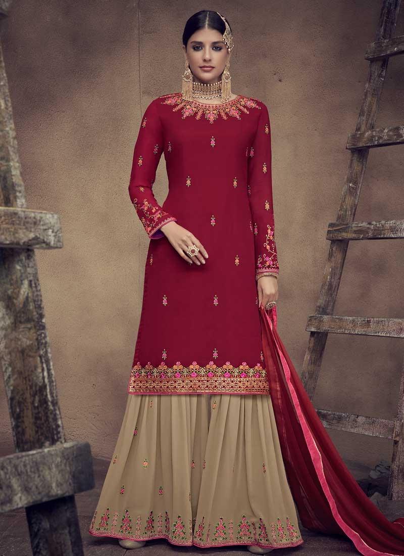 Cream and Red Embroidered Work Sharara Salwar Kameez