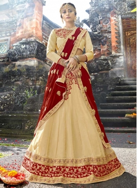 Cream and Red Embroidered Work Trendy A Line Lehenga Choli