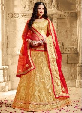 Cream and Red Embroidered Work Trendy Lehenga Choli