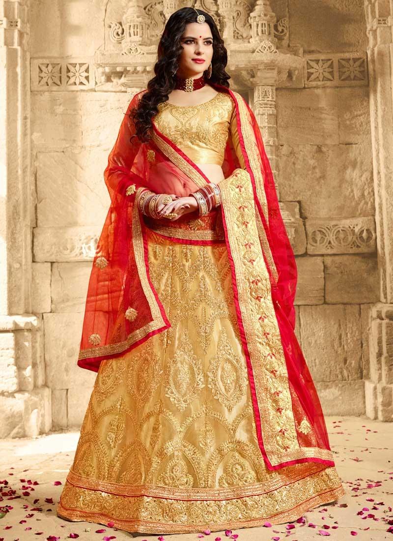 Cream and Red Embroidered Work Trendy Lehenga Choli