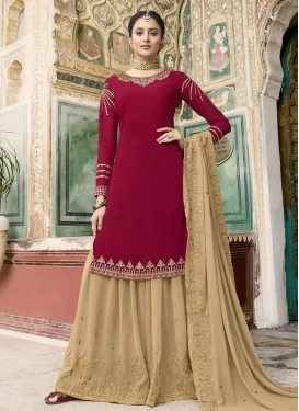 Cream and Red Faux Georgette Palazzo Straight Salwar Suit