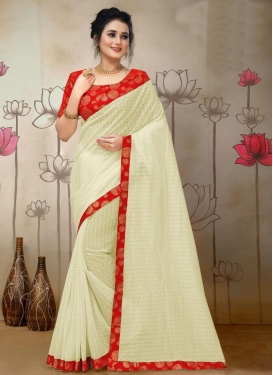 Cream and Red Jacquard Contemporary Style Saree