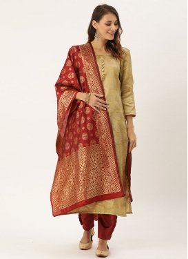Cream and Red Jacquard Pant Style Straight Salwar Kameez