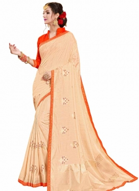 Cream and Red Lace Work Designer Traditional Saree