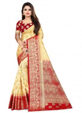 Cream and Red Malbari Silk Traditional Designer Saree For Casual