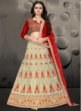 Cream and Red Net A - Line Lehenga