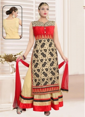 Cream and Red Net Embroidered Work Readymade Long Length Gown