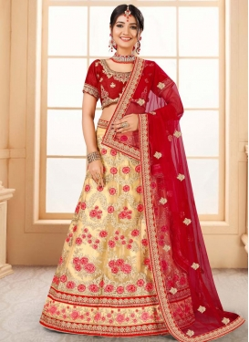 Cream and Red Net Trendy Lehenga For Ceremonial