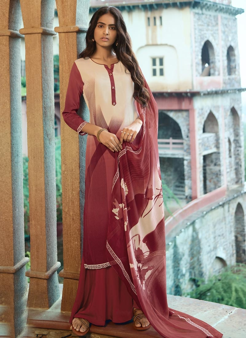 Cream and Red Palazzo Style Pakistani Salwar Suit For Ceremonial