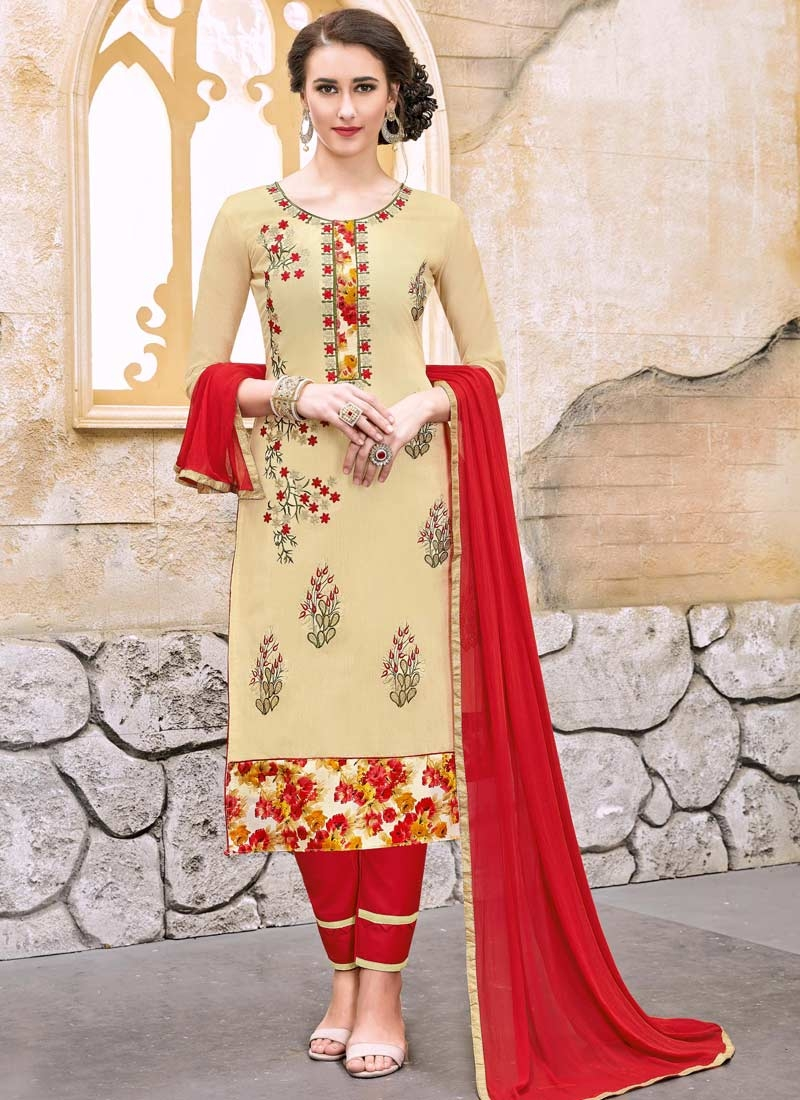 Cream and Red Pant Style Straight Salwar Kameez For Casual