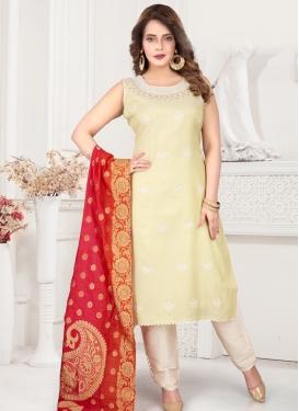 Cream Poly Silk Readymade Salwar Kameez