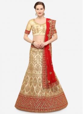 Cream and Red Satin Silk Trendy Lehenga