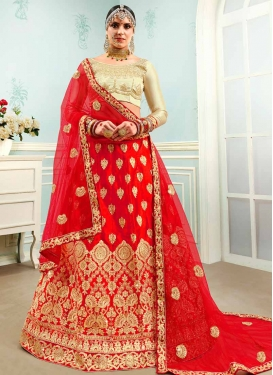 Cream and Red Satin Silk Trendy Lehenga Choli