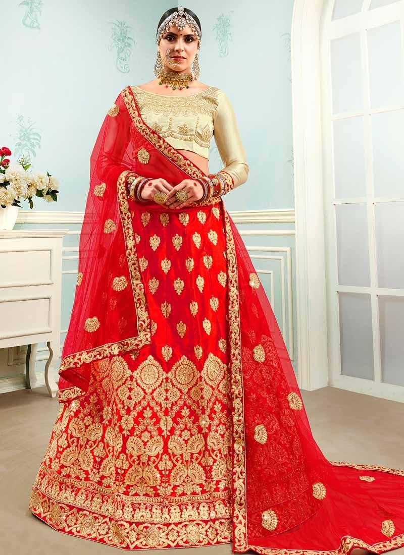 Cream and Red Satin Silk Trendy Lehenga Choli