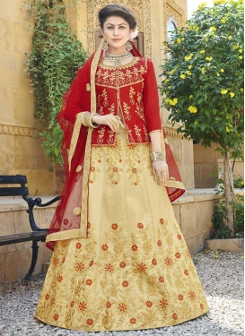 Cream and Red Silk Long Choli Lehenga