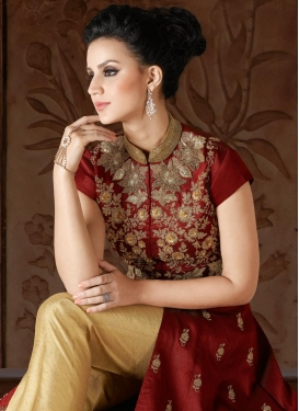 Cream and Red Silk Pant Style Classic Salwar Suit