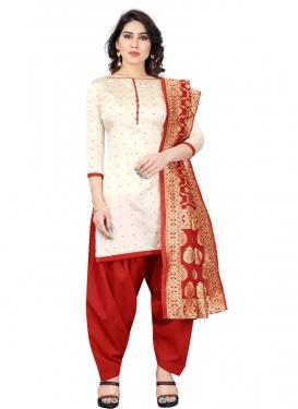 Cream and Red Tafeta Silk Trendy Patiala Salwar Suit