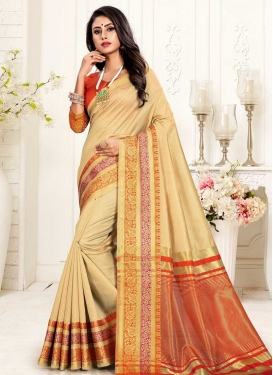Cream and Red Thread Work Trendy Saree