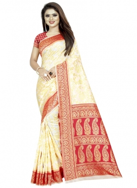 Cream and Red Traditional Saree For Ceremonial