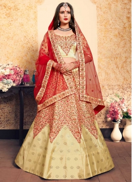 Cream and Red Trendy A Line Lehenga Choli