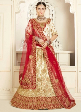Cream and Red Trendy A Line Lehenga Choli