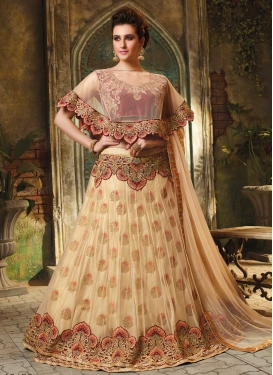 Cream and Red Trendy A Line Lehenga Choli For Party