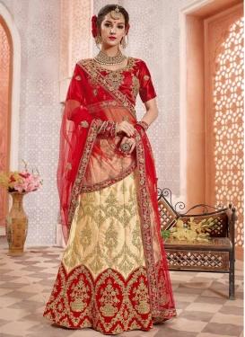 Cream and Red Trendy Lehenga Choli