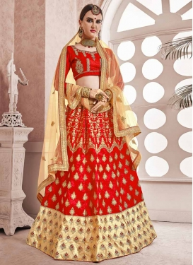 Cream and Red Trendy Lehenga Choli For Ceremonial