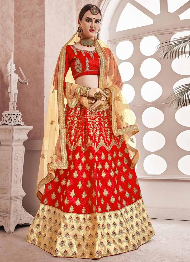 Cream and Red Trendy Lehenga Choli For Ceremonial