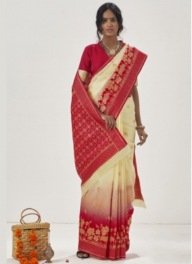 Cream and Red Woven Work Designer Contemporary Saree