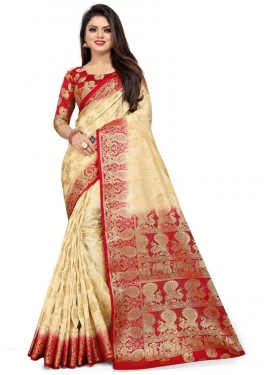 Cream and Red Woven Work Designer Contemporary Style Saree