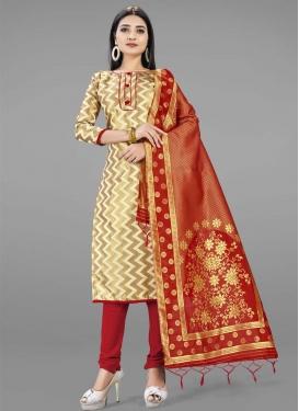 Cream and Red Woven Work Trendy Churidar Salwar Kameez